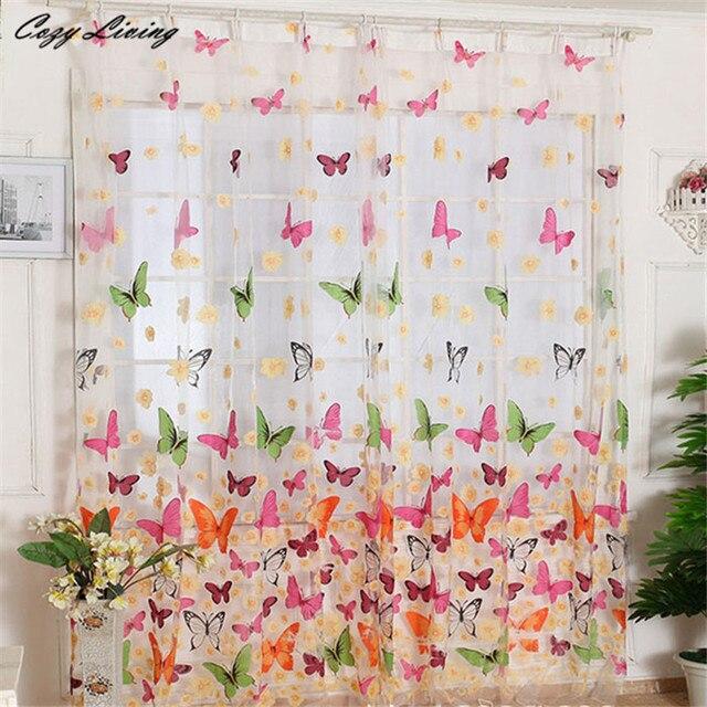 € 3.75 24% de réduction|Rideau 2*1 M Papillon Imprimer Sheer Fenêtre  Panneau Rideaux Chambre Diviseur Nouveau Pour Salon Chambre Fille Fantaisie  ...