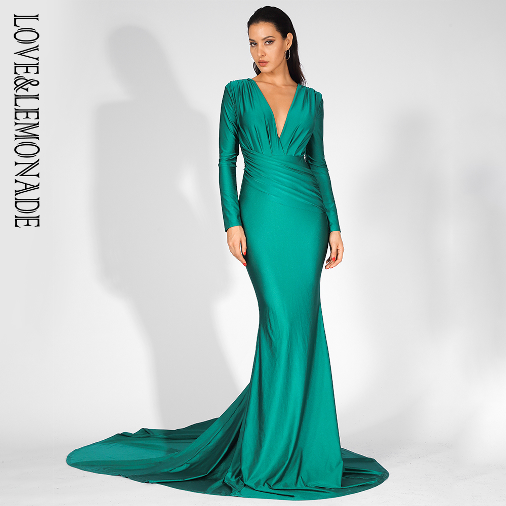 Love Lemonade Sexy Green Deep V Neck Slim Fit Elastic Fabric Trai Maxi Dress LM81535 GREEN