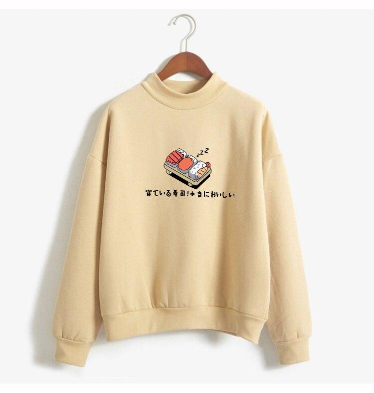 Women Hoodies 19 Autumn Winter Sweatshirts Cartoon Kawaii Sushi Japanese Print Fleece Loose Moletom Feminino Harajuku Pullover 7