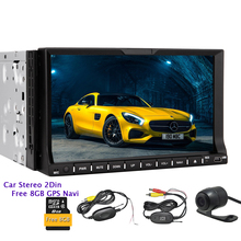 In Dash 2 din Auto Radio SD FM Logo USB Camera Universal CD GPS Car Stereo Audio Music DVD Player EQ Autoradio