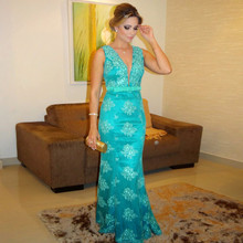 Sexy Meerjungfrau Abendkleid 2016 Robe De Soiree Sirene See-Through Blau Spitze Appliqued Prom Abendkleider