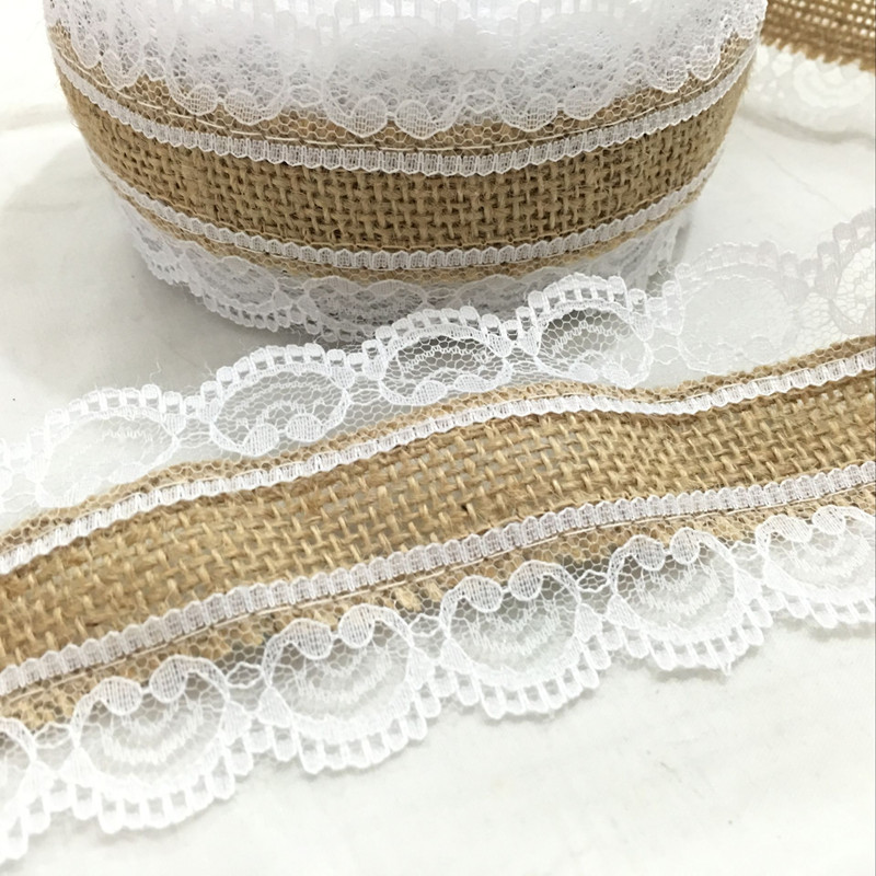 10m Natural Jute Burlap Hessian Lace Ribbon Roll+White Lace Vintage Wedding Decoration Party Christmas  Decorative AA8078