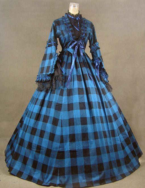 New Civil War Blend font b Tartan b font Ball Gown Theater Dress