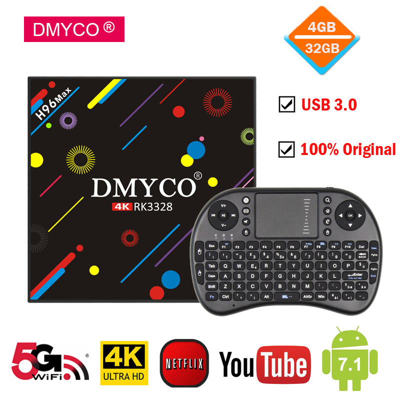 DMYCO TV Box Android 7.1 4GB 32GB H96 Max H2 RK3328 Quad Core 4K Smart Tv 2.4G/5G WiFi USB 3.0 Bluetooth4.0 H96 MAX Media Player