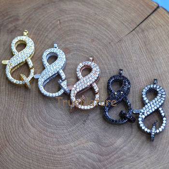 Clear CZ Paved Lobster Clasp, Pave Claw Clasp, Metal Electroplated Infinity Shape Jewelry Findings In 30*15 mm FC7464