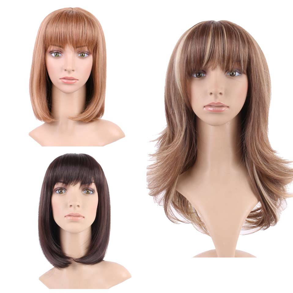 Generous Inhair Cube Natural Straight Synthetic Heat Resistant Fiber Long Ombre Light Brown Hair Salon Inclined Bangs Hairpiece Synthetic Wigs