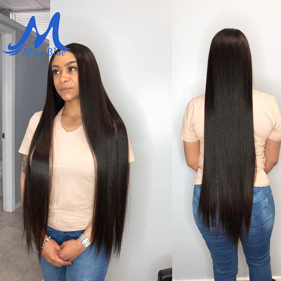Missblue Peruvian Hair Weave Bundles Straight 100% Human Hair 34 36 38 40 Inch 3/4 Bundles Natural Color Remy Hair Extensions 2