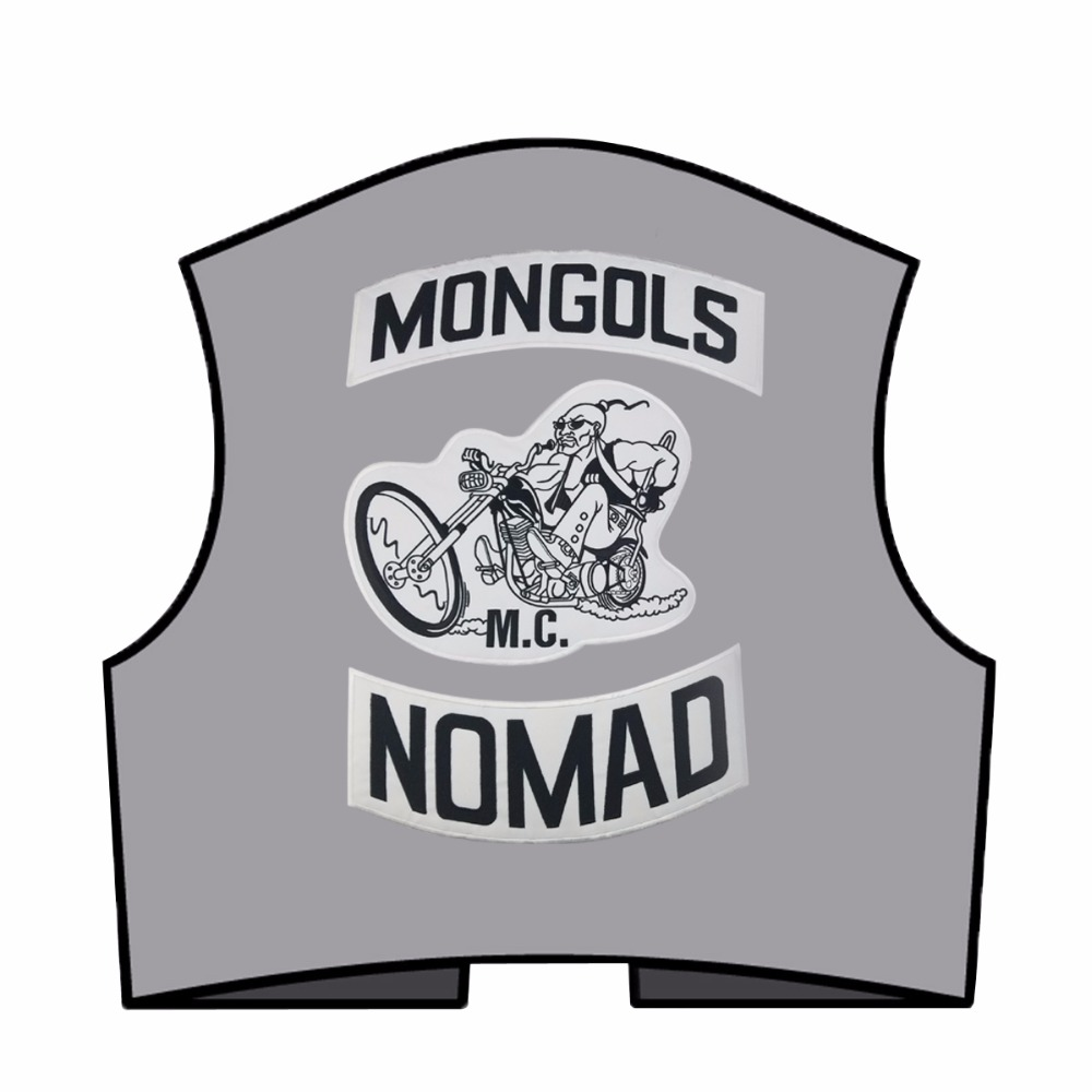 Image 3 - Mongols MC Patches Biker Back Nomad Rocker Patch Free Rider Motorcycle Embroidered Jacket Vest Badge Back Size Iron On-in Patches from Home & Garden