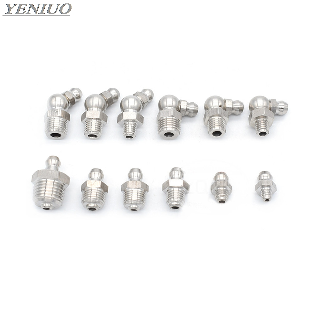 Stainless Steel Grease Nipple Oil Mouth Grease Nipple Butter Gun Fittings M6 M8 M10 M12 1/8