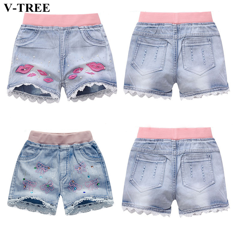 V-TREE Girls Denim Shorts Teenage Girl Summer Lace Pants Kids Bow Clothes Children Flowers Embroidery Jean Short For Teenager gudi block city large passenger plane airplane block assembly compatible all brand building blocks educational toys for children