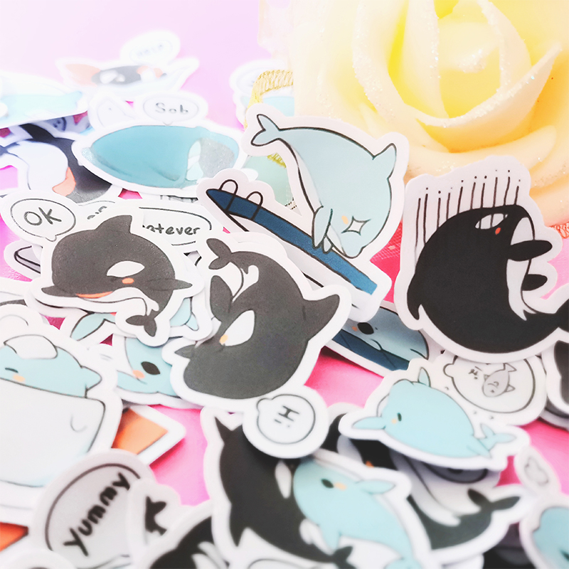 20/40pcs Pretty Cute Sea Fish Cartoon Diary Clip Art Sticker Skateboard Doodle Notebook Sticker
