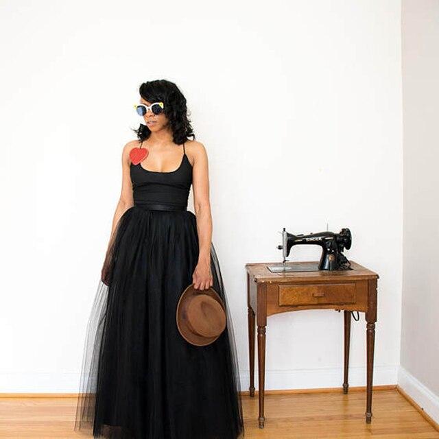 Iets Nieuws Zwarte Tule Maxi Rok Volwassen Tutu Lange Tulle Rok Custom gemaakt @EU24