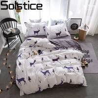 Solstice Textiles Stylish Simplicity Christmas Elk Striped Cartoon 3 4pcs Bedding Sets Contain Duvet Cover Bed