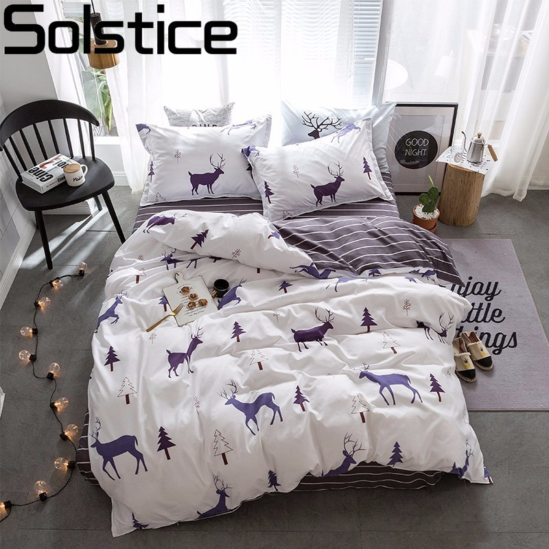 solstice textiles stylish simplicity christmas elk striped cartoon 3 4pcs bedding sets contain. Black Bedroom Furniture Sets. Home Design Ideas