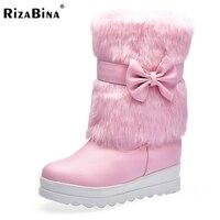 RizaBina Rozmiar 34-43 4 Kolory Kobiety Połowa Krótkie Buty Wysokie Kliny buty Z Grube Futro Botas Kobiety Obuwie Buty W Zimie Zimno