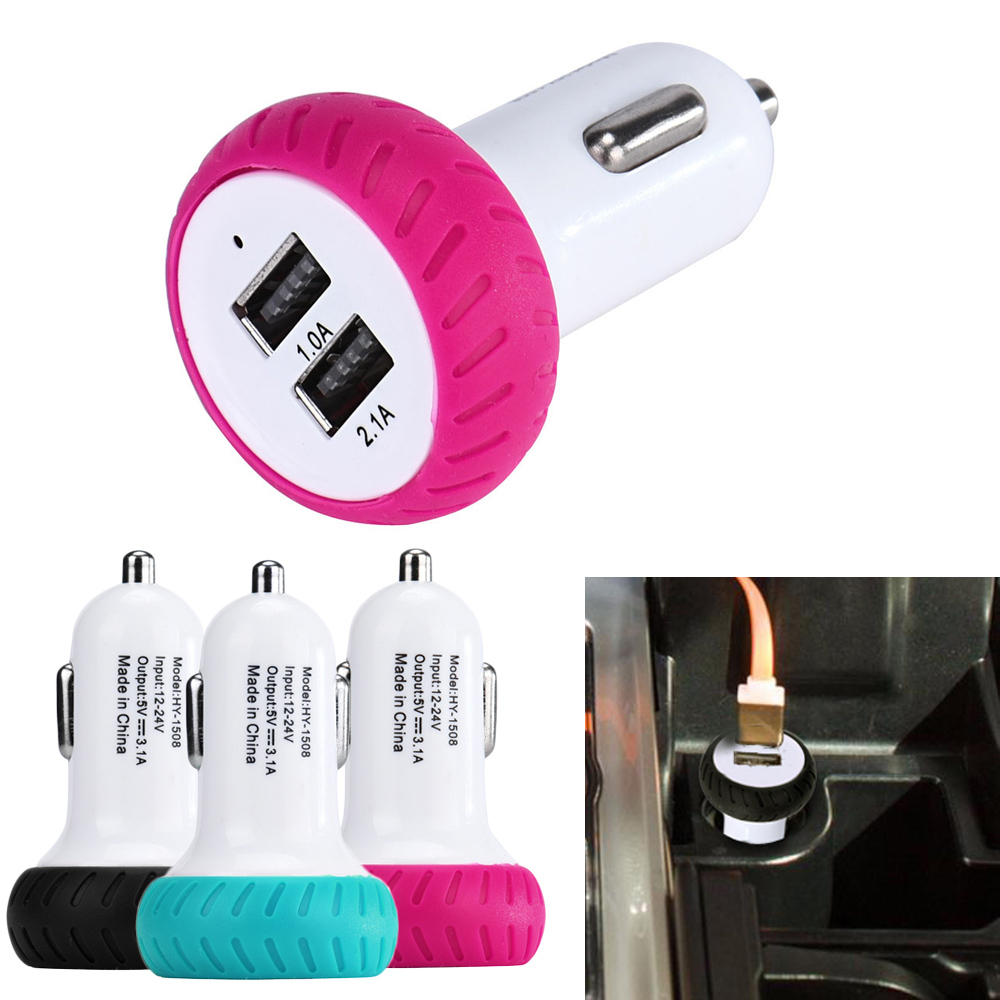 Colored usb car charger - 2016 New Hot Car Accessories 2 1a 24w Mini Dual 2 Port 12v Usb Auto