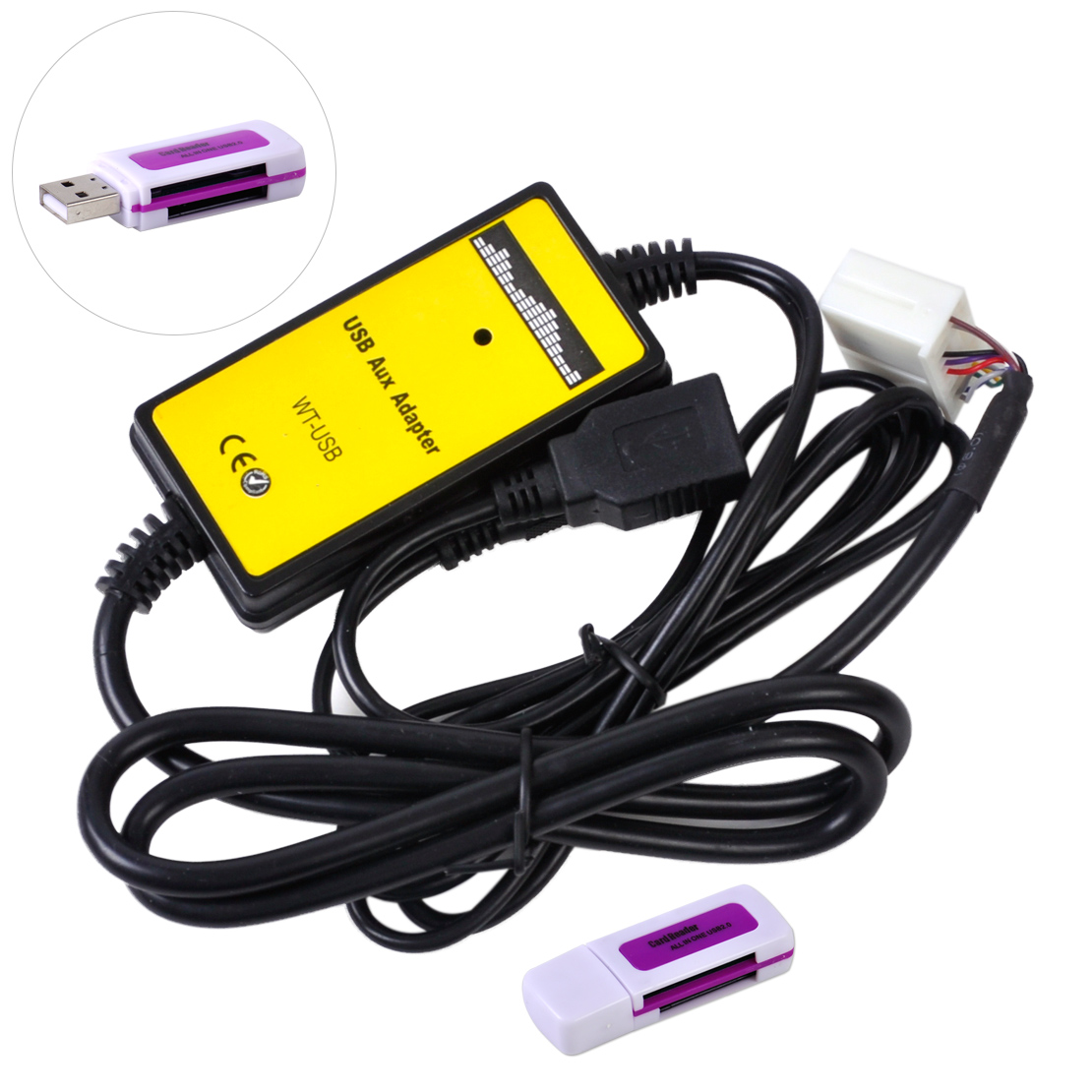 CITALL Nero Musica Auto CD Adattatore di Interfaccia Audio da 3.5mm AUX Cavo di Ingresso USB con lettore di Schede per il VW Audi Pin radio