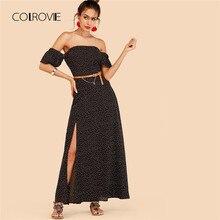 COLROVIE черный с открытыми плечами платье в горошек с поясом 2018 новый летний отпуск сексуальное платье макси Разделение Пляж Линия женское платье