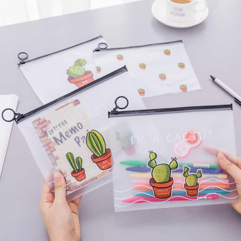 Cute Transparent Frosted Cactus Bag Women Cosmetic Organizer PVC Toiletry Bath Storage Bag Stationery Pencil Case Pens Handbag