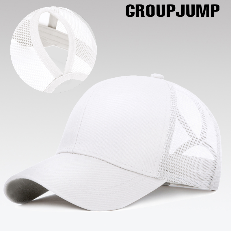 GROUP JUMP Glitter Ponytail Baseball Cap Women Snapback Hip Hop Caps Female Sequins Shine Summer Hats Mesh Trucker Dad Hat 2018 cc denim ponytail baseball cap snapback dad hat women summer mesh trucker hats messy bun sequin shine hip hop caps casual