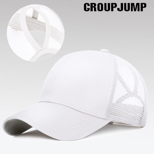 GROUP JUMP Glitter Ponytail Baseball Cap Women Snapback Caps Women's Cap Female Sequins Shine Summer Hats Mesh Trucker Dad Hat