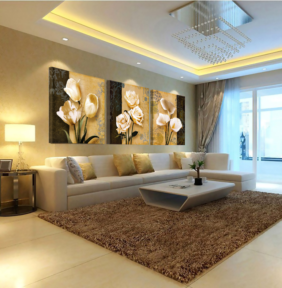 Painting For Living Room Wall 3pcsno Frameart Orchid Canvas Oil Painting Poster Living Room
