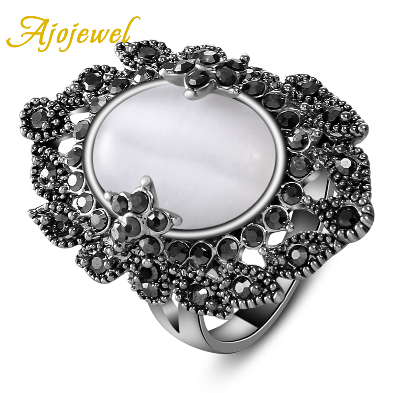 Ajojewel SIZE 7 9 Fashion Ladies Jewelry Elegant Women 39 s Palace Retro Black CZ White Opal Ring in Rings from Jewelry amp Accessories