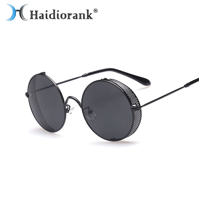 2afe1f3b4e0c 2017 Steampunk Round Goggles Sun Glasses For Men Luxury Brand Designer Vintage  Retro Sunglasses Steam Punk Gothic Black Mirror