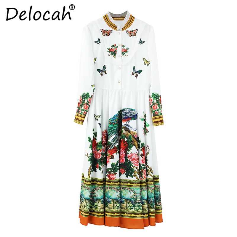 Delocah Women Spring Summer Dress Runway Fashion Designer Long Sleeve Gorgeous Beading Flower Printed A Line Knee Length Dresses in Dresses from Women 39 s Clothing