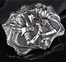 OGRM Titanium Steel Archangel Tyrael 316L Steel Buckle Cowhide Leaher Belt Punk Gothic Genuine Leather Belt Men Luxury Brand