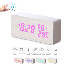 Wooden Alarm Clock 115-Colored Digital Alarm Clock LED Table Clock Time Humidity Temperature Date Display Voice Control Snooze(China)