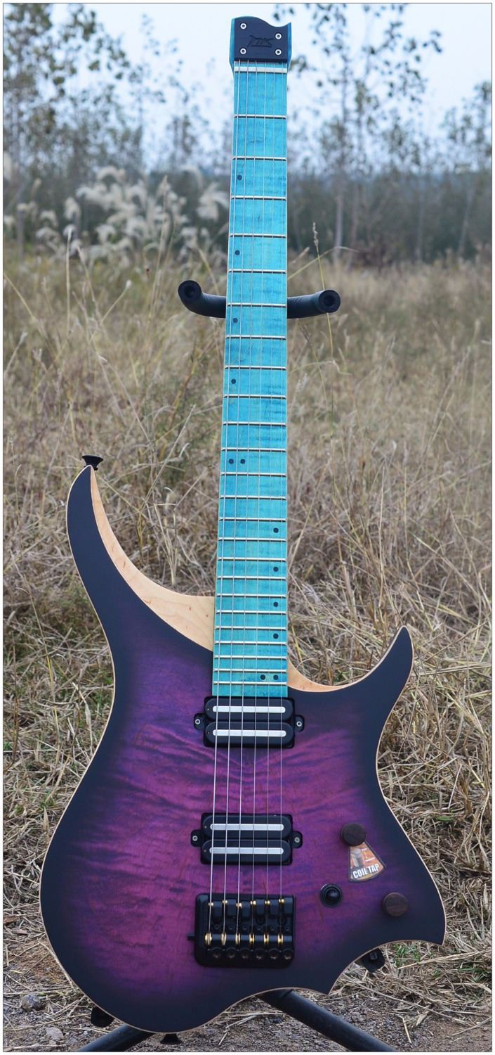 Headless Electric Guitar style Model Purple blue color Solid Flame maple top and AAA Flame Neck in stock Guitar free shipping стоимость