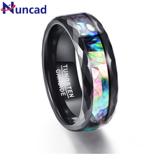 Nuncad 8mm Men's Abalone Shell & Polished Black Faceted Tungsten Carbide Rings Wedding Bands Size 5-14
