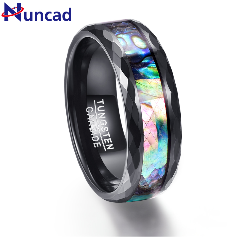 Wedding Ring Bands >> Nuncad 8mm Men's Abalone Shell & Polished Black Faceted Tungsten Carbide Rings Wedding Bands ...