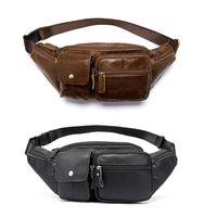 2019 Men's Vintage Genuine Leather Multi pocket Fanny Pack Waist Bum Belt Pack Chest Bag Crossbody Pouch