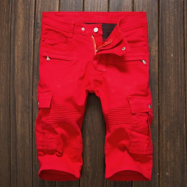 Vintage Red Denim Shorts 2016 Mens Zippered Pockets Slim Fit Korean Design Jean Shorts Nightclub Casual