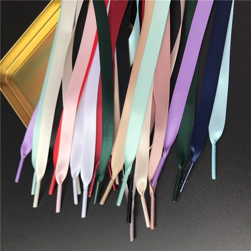 New 1Pair 1CM Width Satin Silk Ribbon Shoelaces 80/100/120/150CM Length Sneaker Sport Shoes Lace Adult Children's Laces S2