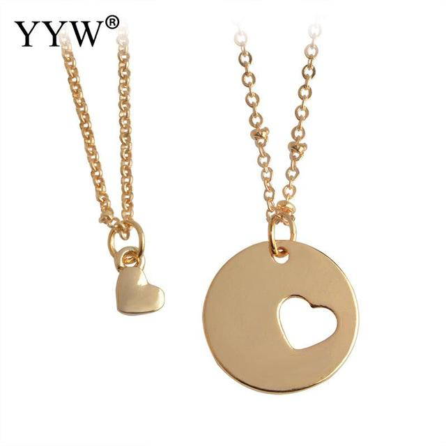 2pcsset romantic couples heart pendant her his love necklace set 2pcsset romantic couples heart pendant her his love necklace set lover couple puzzles aloadofball Image collections