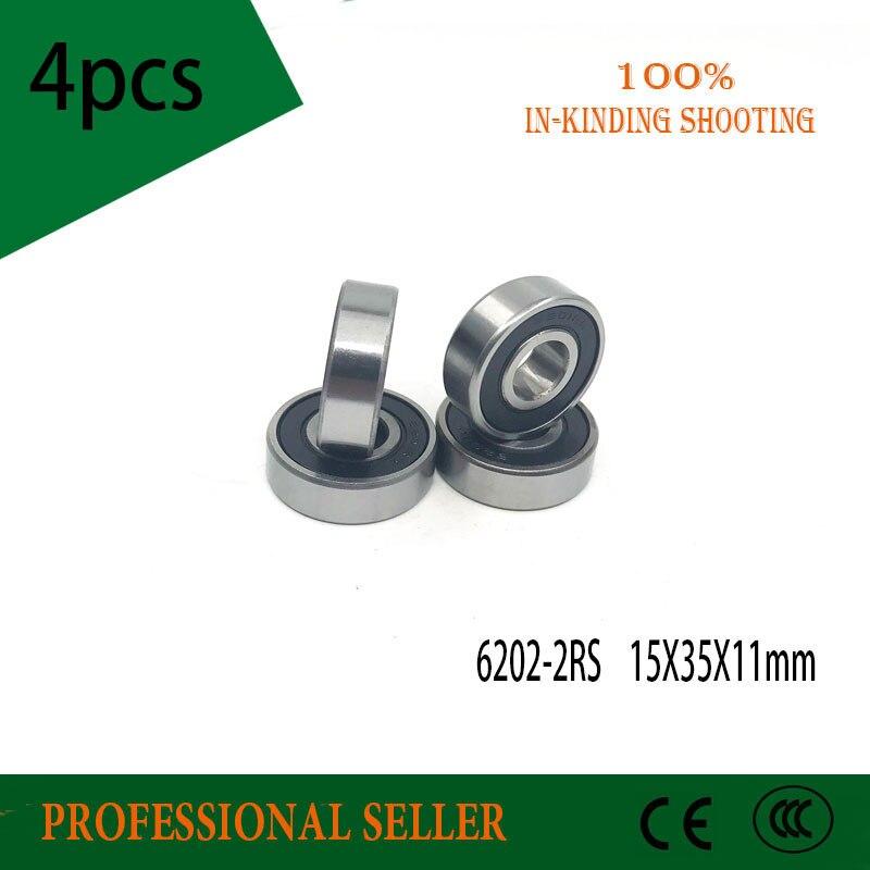 4pcs/lot High Quality 6202RS 6202-2RS ABEC-3 Ball Bearing 15x35x11mm Deep Groove Ball Bearing Free Shipping