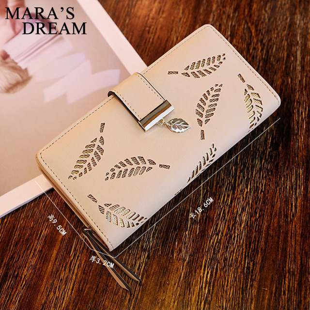 Mara's Dream 2019 Brand Leaves Hollow Women Wallet Soft PU Leather Women's Clutch Wallet Female Designer Wallets Coin Card Purse