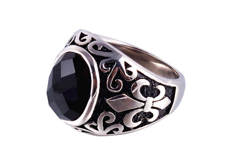 Black Onyx Stone Thick Band Ring Men In Stainless Steel Vintage Fluer De Lis Antique Silver Color Gothic Punk Cool Mens Jewelry