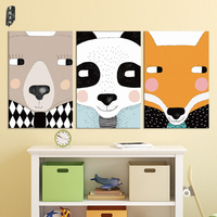 Cartoon Animal Painting Colorful Wall Art Modern Home Decor Canvas Pictures for Kids Posters and Prints Nordic