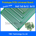 O Envio gratuito de 8 pçs/lote 6x8 7x9 8x12 9x15 cm Duplo-Side protótipo Pcb Universal para DIY