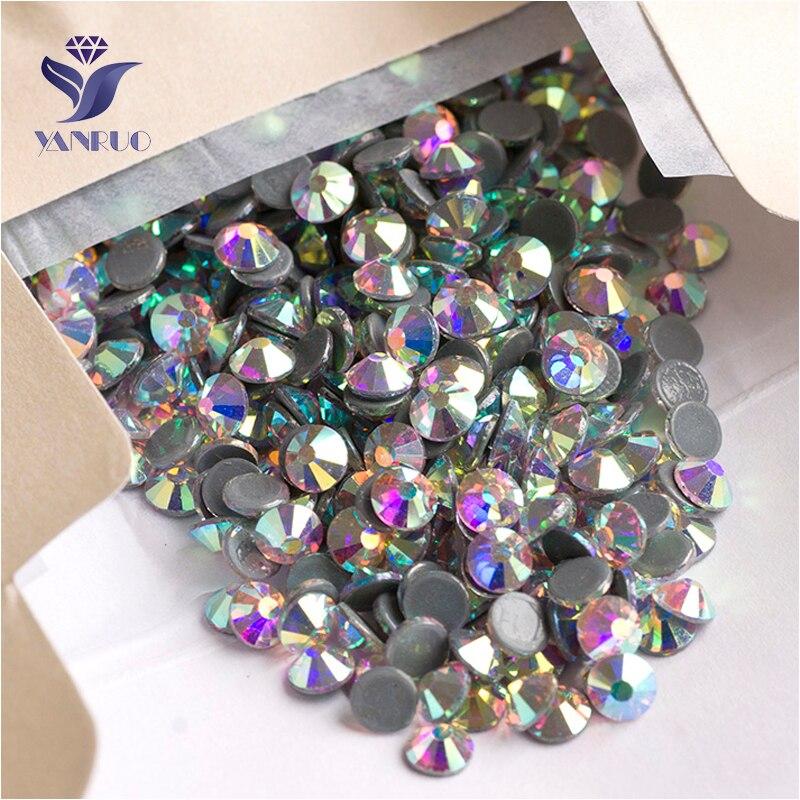 YANRUO 2028HF SS16 1440 pièces AB Strass Flatback Strass cristal Hotfix verre Hot Fix pierres de verre pour vêtement