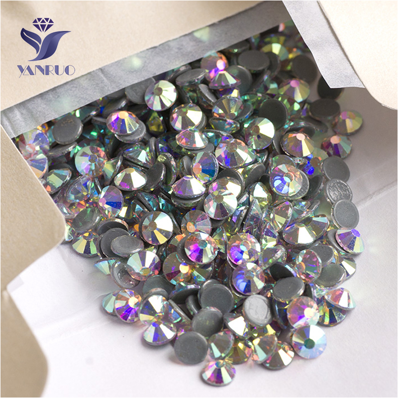 YANRUO 2028HF SS16 1440Pcs AB Rhinestone Flatback Strass Crystal Hotfix Glas Hot Fix Glassten For Beklædning