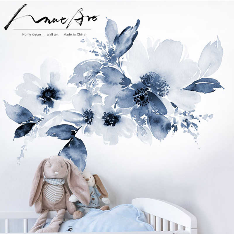 Watercolor Large Flowers Wallpaper Flowers On Blue Background Modern Wall Stickers Baby Room Wall Decor Wall Mural Big Size