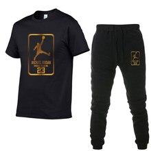 b618424ed6 Correr ropa deportiva para hombre conjuntos 23 JORDAN camisetas de manga  corta Jogging pantalones chándal traje
