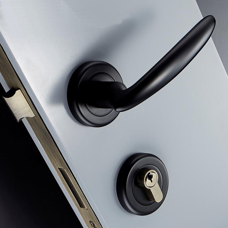1 Set or/noir silencieux intérieur rond porte serrure moderne salle de bain Double ouvert mère ordinaire porte serrure JF1898