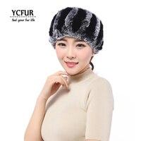 YCFUR Real Fur Headband Women Handmade Knit Genuine Rex Rabbit Fur Headbands Girls Natural Fur Ring