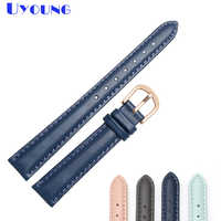 genuine leather bracelet 14mm 16mm 18mm 20mm soft watch band simple watch strap womens leather watchband blue color